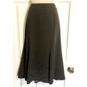 CAbi Midi Flare Skirt with appliqué Style #402